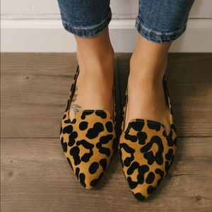 Shoes - Camel leopard flats pointy women's  shoes